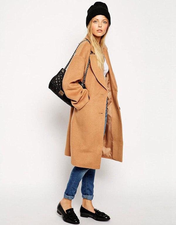 Plus Size Wool Blends 2014 Camel Winter Coat Women Overcoat Single ...