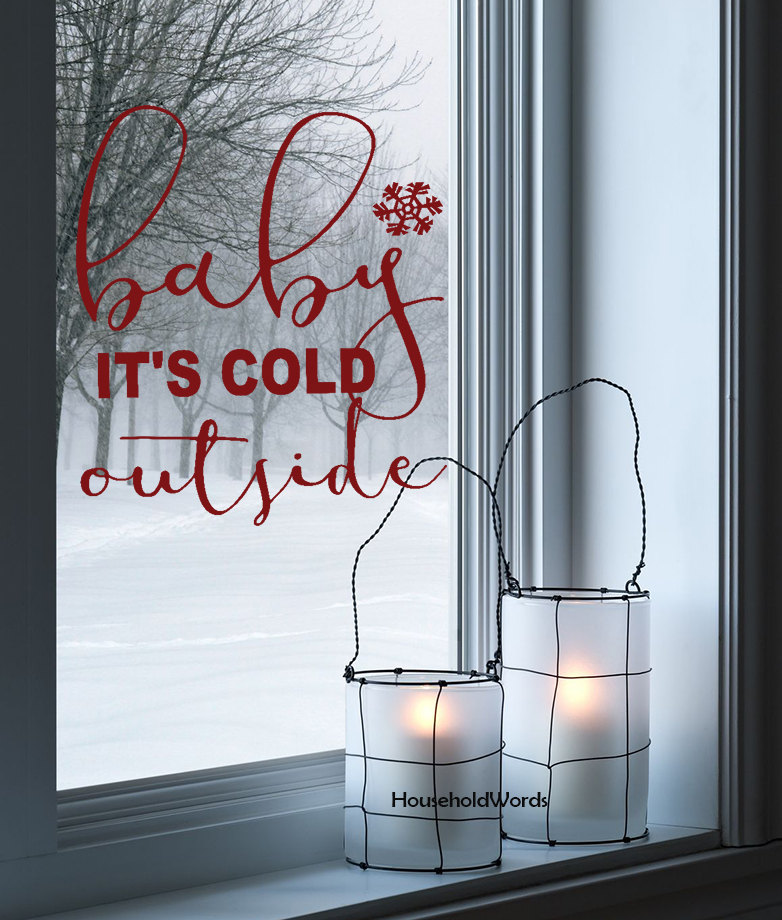 Baby It's Cold Outside Vinyl Decal Quotes Waterproof Wall Window Decoration Christmas Home Decor Wall Stickers Snowflake ZB120