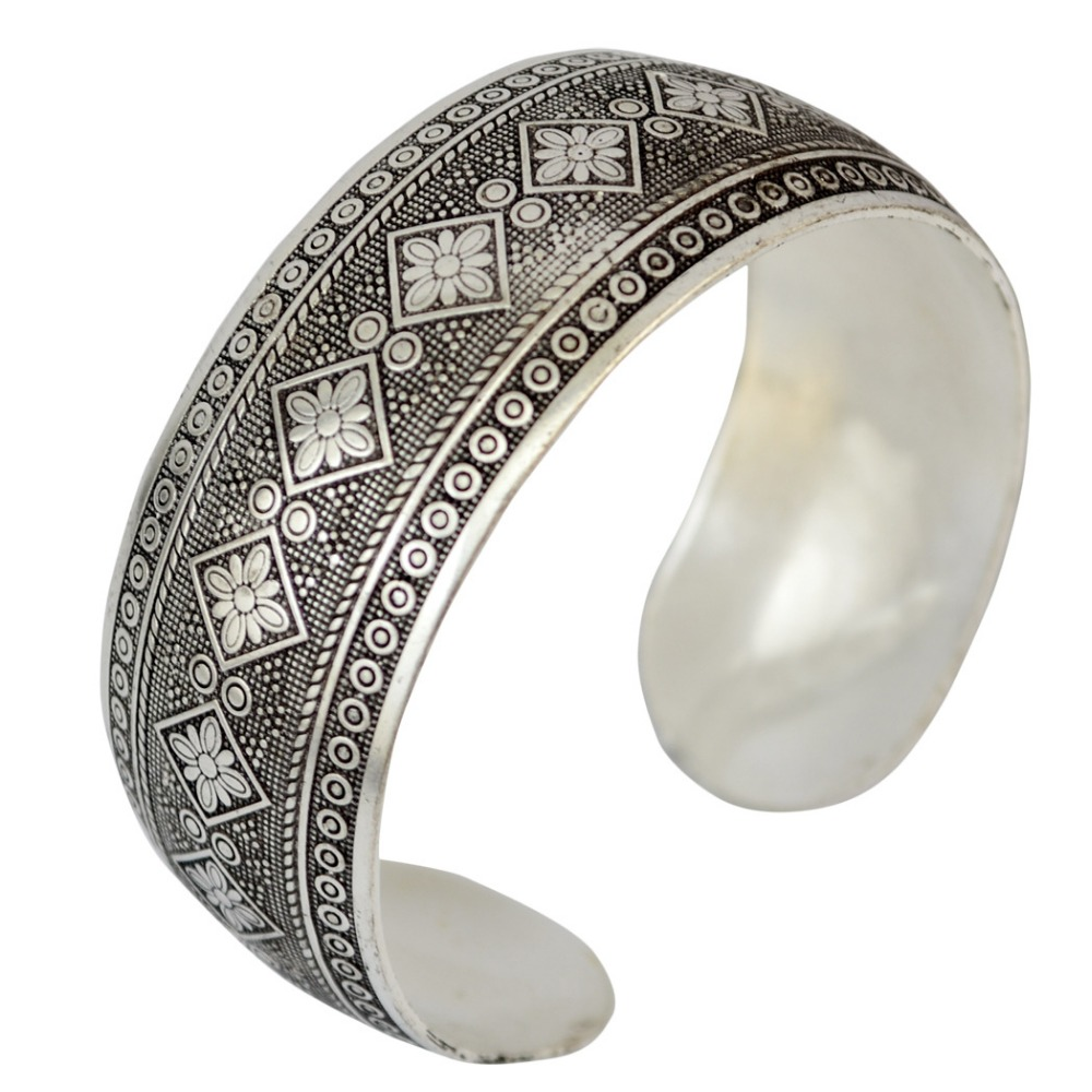 New Unique Design Vintage Elephant Silver Plated Bangles Elephant geometric Cuff Bracelet bangle Trible Gypsy for Woman jewelry bangle