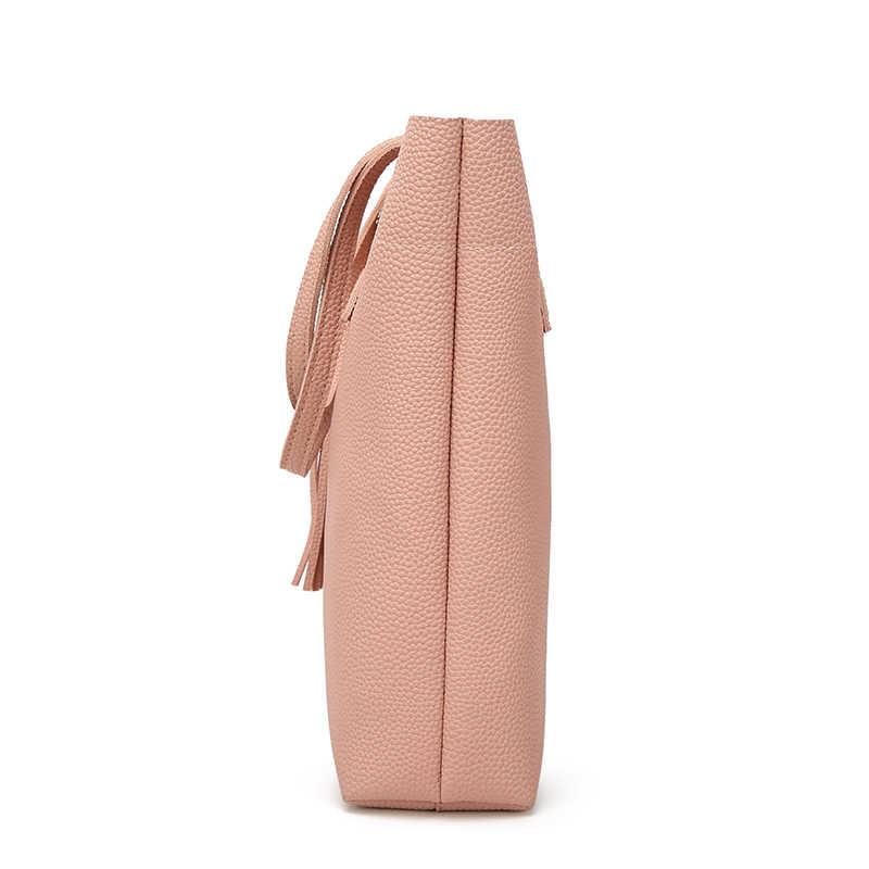 Ankareeda Suaves das Mulheres de Couro Bolsa de Alta Qualidade Bolsa de Ombro Mulheres Bolsas de Marca de Luxo Borla Balde Saco Da Forma Saco das Mulheres