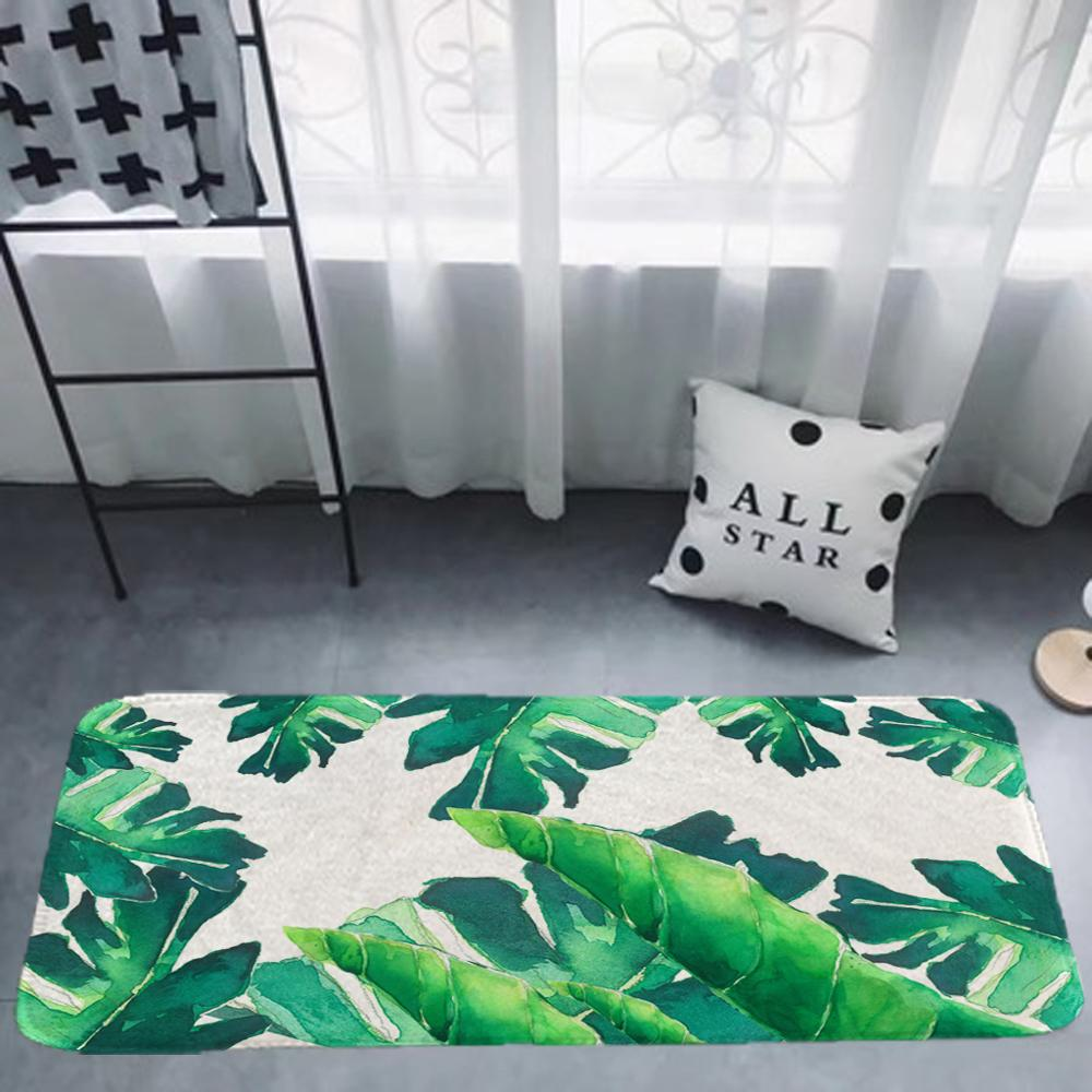 Carpet Doormat Funny Kitchen Entrance Door Mat Anti-slip Floor Rug Bathroom  Area  Hallway 50x80cm Ins Green Leaf Design(China)