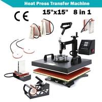 1set Heat Press Machine 15x15 8 IN 1 Digital Heat Press Transfer Machine For T Shirts Cap Hat Combo Kit Sublimation Swing Away