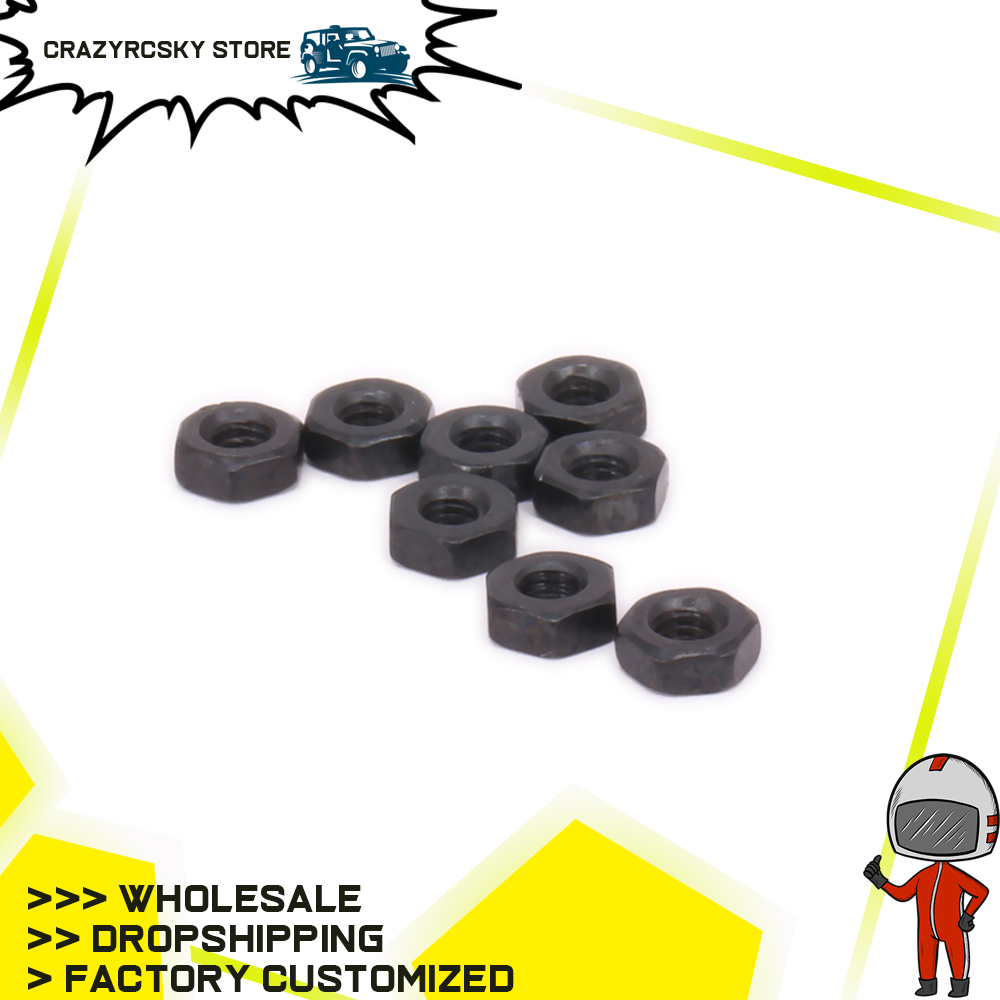RCAWD 8PCS M2.5 Nut For RC Model Car 1-12 Wltoys <font><b>12428</b></font> FY03 Traxxxs HSP HPI Black <font><b>Metal</b></font> Hop-up Spare Parts image