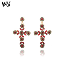 VEYO Classic 2 Colour Cross Earrings Crystal Drop for Women Rhinestone Drop Earrings 2018 Brand New Gift Jewelry cheap Fashion FLE1803-349 Zinc Alloy Brincos Pendientes OPP Bag YiWu China (Mainland) Spring Autumn Winter Summer Style Birthday Party Wedding Anniversary