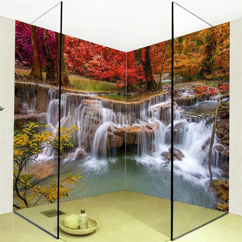 Custom Mural Wallpaper 3D Stereo Waterfalls Forest Bathroom Wall Painting Sticker PVC Self Adhesive Waterproof Papel De Parede