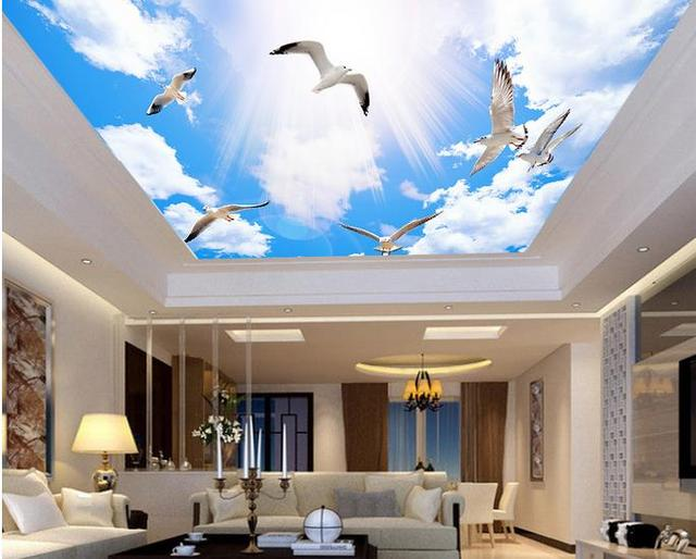 Customize Sky Ceiling Stereoscopic Wallpaper Blue And White Clouds For Ceilings