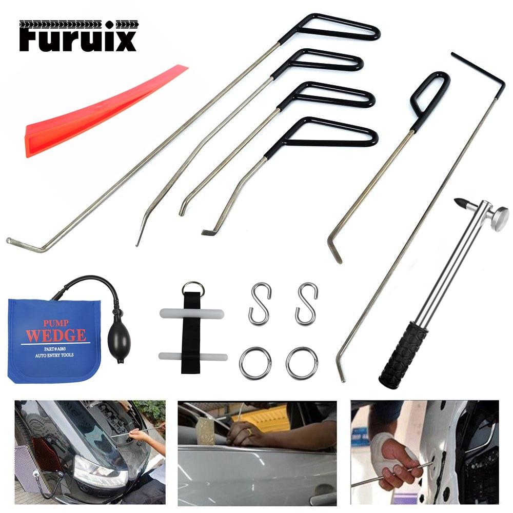 PDR Tools Rod Hooks Crowbar Dent Removal Paintless Dent Repair Wedges Repair Hammer Hand Tools Kit Ferramentas