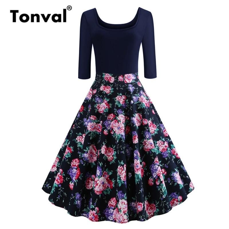 c58062a5e20 Tonval Navy Blue Contrast Floral Vintage Dress Round Neck Cotton ...