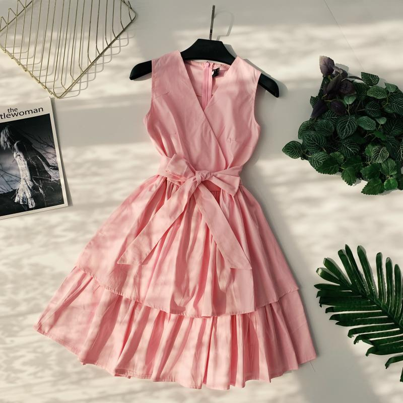 Korean Vintage Pure V Collar Sleeveless High Waist Bow Tie Double Ruffle Holiday Dress Women Vestidos E348 63