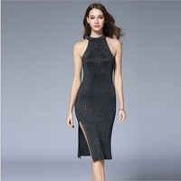 Explosion Models 2018 Silver Gray Ladies Dress Bright Silk Strapless Hanging Neck Knitted Sexy Slim Slit