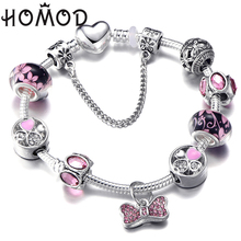 HOMOD Pink Crystal Charm Silver Bracelets & Bangles For Women With Flower Murano Beads BowKnot Brand Bracelet Femme Jewelry wholesale blue natural crystal bracelets 6mm beads with pink magnolia flower pendant crystal bracelet for women fresh jewelry