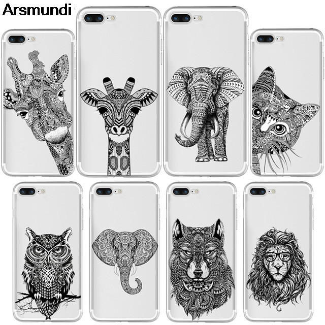 Arsmundi Indian Tribal Elephant Cat Giraffe Phone Cases for iPhone 4 5C 5S 6S 7 8 Plus X Case Crystal Clear Soft TPU Cover Cases