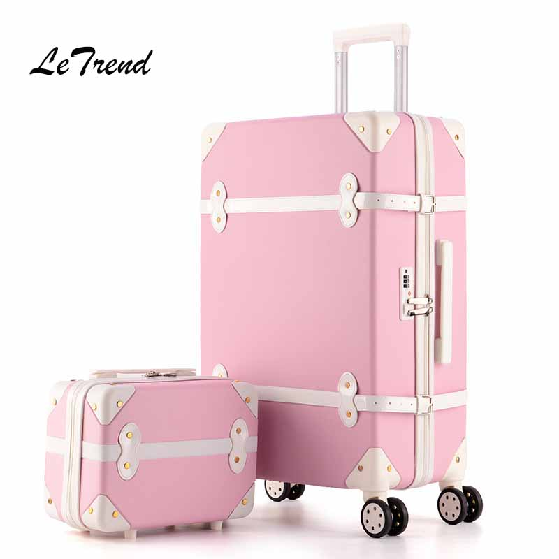 цена на Letrend Women Suitcases Wheel Trolley Rolling Luggage Set Spinner vintage Travel Bag Student Carry on Luggage password Hardside