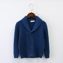 2019 4T-12TShirt collar Boys Sweaters Kids Cardigan Winter Tops Children Clothes Boy Clothing School