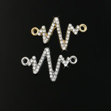 JAKONGO Gold Silver Color Crystal Electrocardiogram Connector fit Jewelry Making Bracelet Accessories DIY Craft 22x14mm