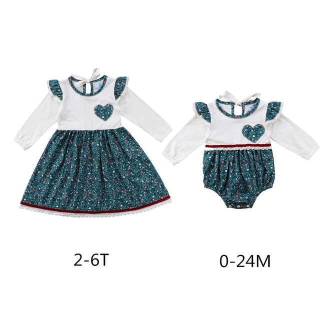 2018 Baby Girl Floral Romper Matching Family Clothes Dress Infant Toddler  Princess Wedding Party Cute Sundress bfbca33a6