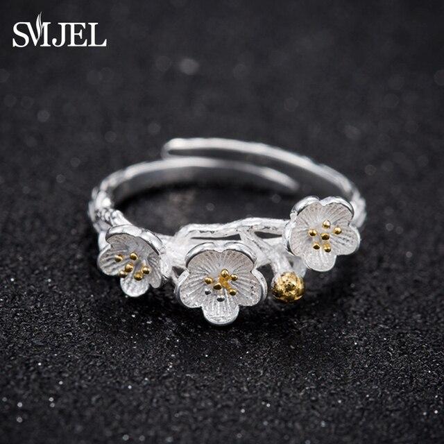 SMJEL Valentine's Day New Peach blossom Flower Rings for Women Anel Female Ring