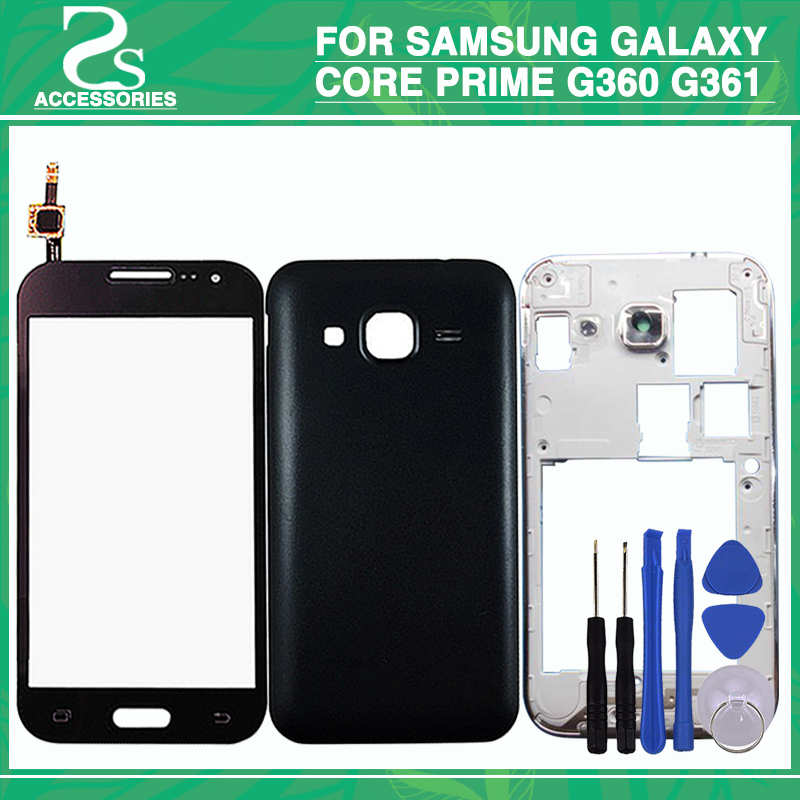 New G360 Full Housing Cover For Samsung Galaxy Core Prime G360 G361 Battery Cover+Middle Frame+Touch Screen + tools