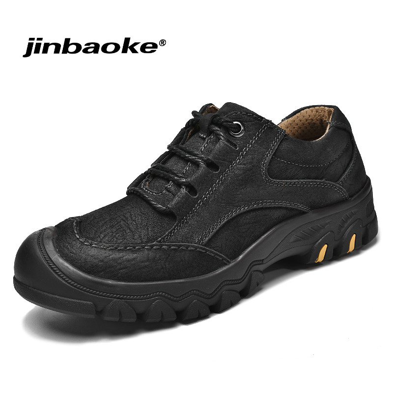 High Quality Genuine Leather Men Hiking Shoes Waterproof Hunting Antiskid Tourism Climbing Sneaker Outdoor Trekking Sports Shoes цена 2017