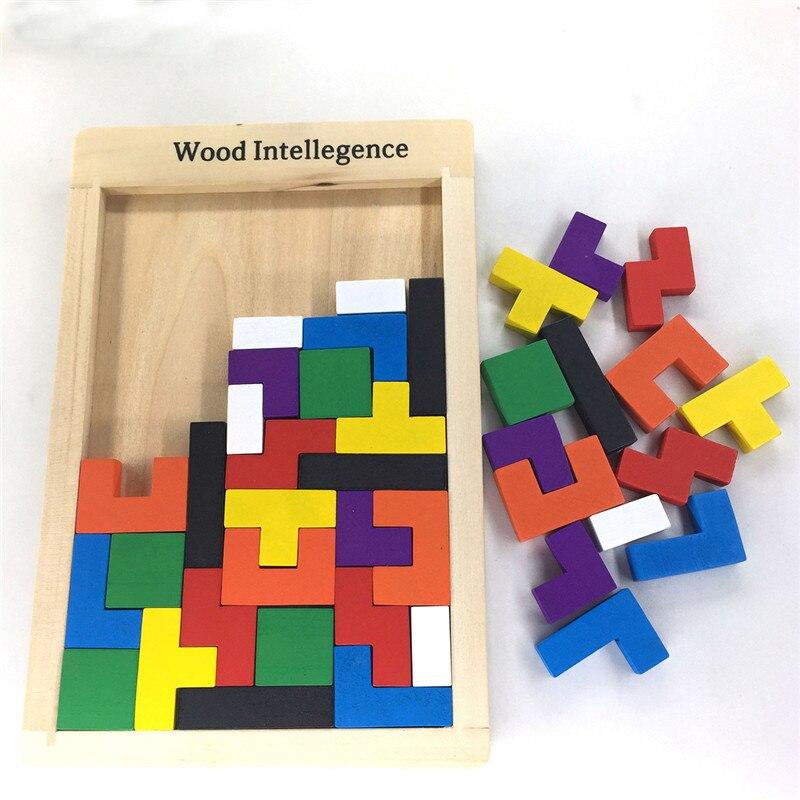 En bois Jeu Éducatif Bébé Casse-tête Puzzle Tetris Enfant Enfants Jouet Enfants Jouets En Bois Tangram/Conseil Jigsaw Puzzle