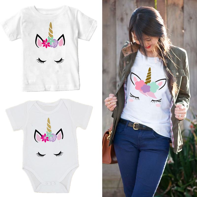 mommy and daughter household matching garments Quick sleeve cotton lady ladies unicorn T shirt Toddler boy Romper matching outfits Matching Household Outfits, Low cost Matching Household Outfits, mommy and...