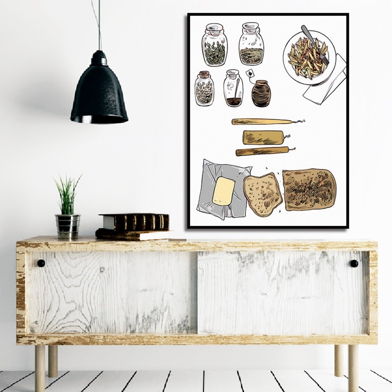 Retro Bottle and Jar Retro Plate Bread Painting European Vintage Poster Modular Canvas Art Wall Pictures for Kitchen Decoration in Painting Calligraphy from Home Garden