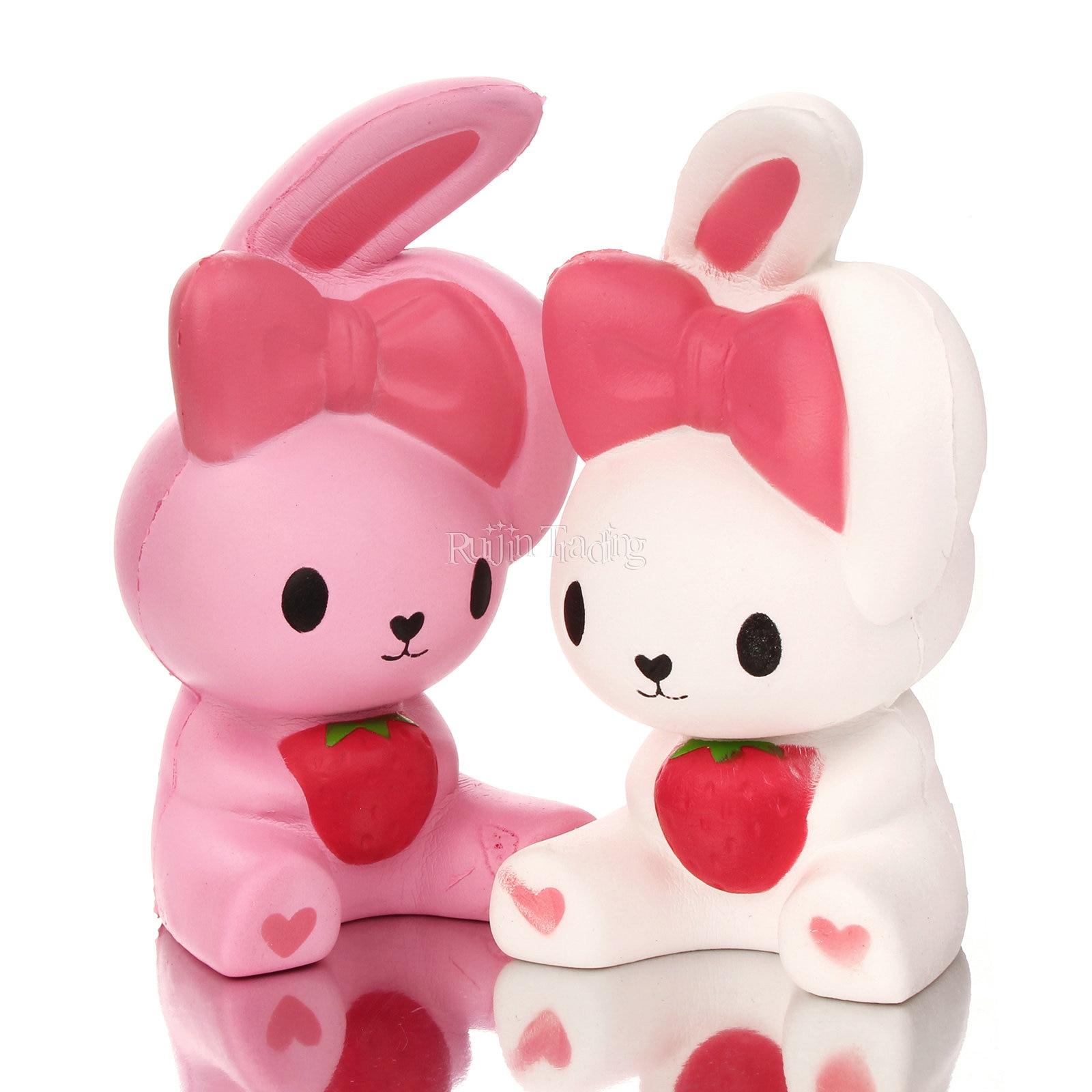 Kawaii Squishy Bunny : Random Color Slow Rising Kawaii Strawberry Rabbit Squishy Cute and Squishy