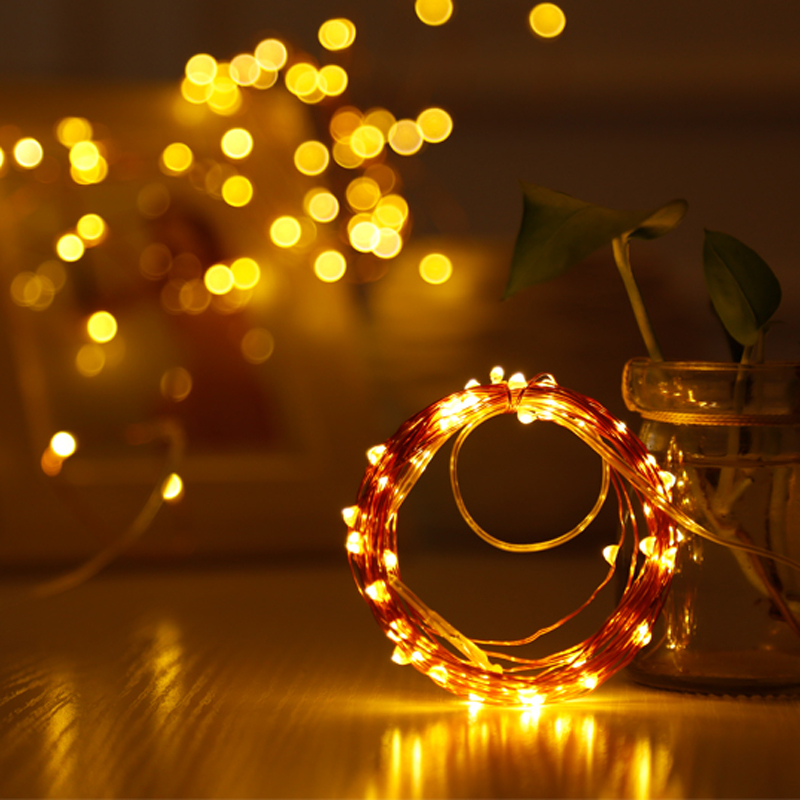 6X 20 Leds Christmas Lights Indoor 2M String LED Copper Wire Fairy Lights for Festival Wedding Party Home Decoration Lamp
