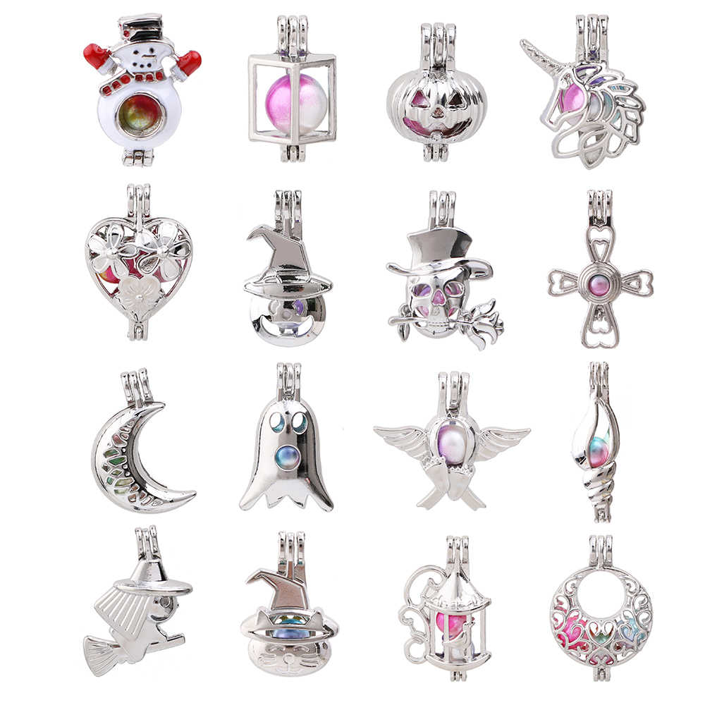 1pc Silver Plated Snowman Unicorn Conch Skull Ghost Pearl Cage Bead Cage Pendant Essential Oil Diffuser Lockets Jewelry Making