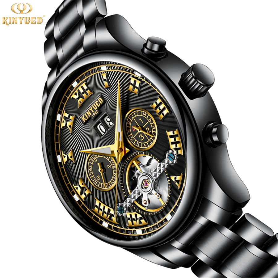 2018 New Fashion KINYUED Tourbillon Watches Men Automatic Watches Men Stainless Steel Gold Mechanical Watch Relogio Masculino unique smooth case pocket watch mechanical automatic watches with pendant chain necklace men women gift relogio de bolso