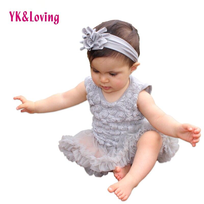 Newborn Wedding Dresses Baby Girls Dress Sleeveless Roses Ruffle Vestido Infant Romper Vestidos + Sandal + Headband Sets ...