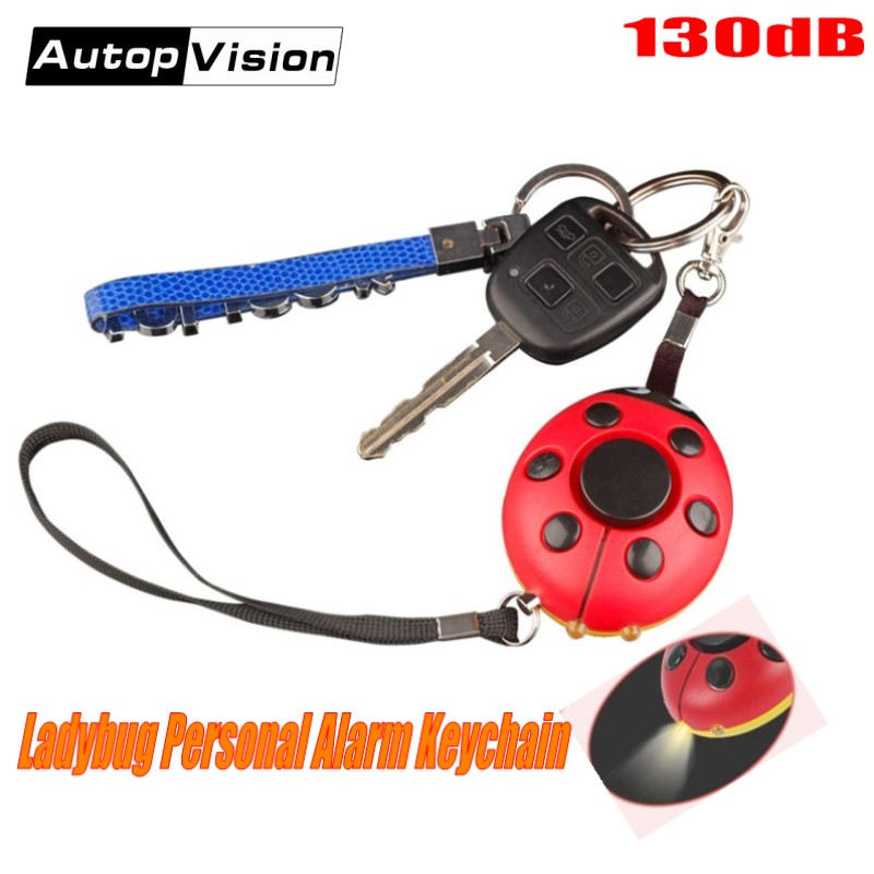 2018 Hot-sale Ladybug Personal Alarm With 130dB Siren Anti-Rob Anti-Attack Self Defense Alarm Keychain With LED Flashlight