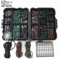 MNFT Super Deal! 1 Set Assorted Carp Fishing Accessory Hooks Rubber Tubes Swivels Beads Sleeves Stoppers For Hair Rig Combo Box