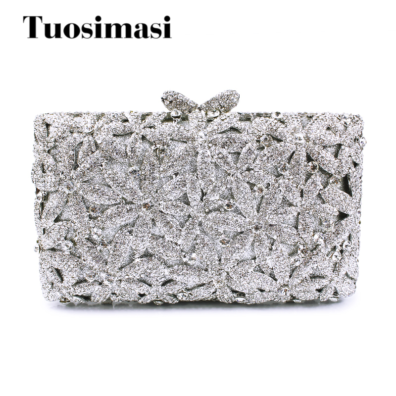 Newest beautiful flower shape silver rhinestone bridal wedding bag evening clutch flower pattern white crystal handbag(88128A-S) 2016 women fashion metallic rhinestone flower pattern crystal evening bag wedding bride clutch handbag