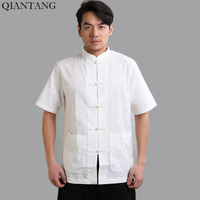 New Arrival White Chinese Men S Kung Fu Shirt Top Short Sleeve Hombres Camisa Clothing Size