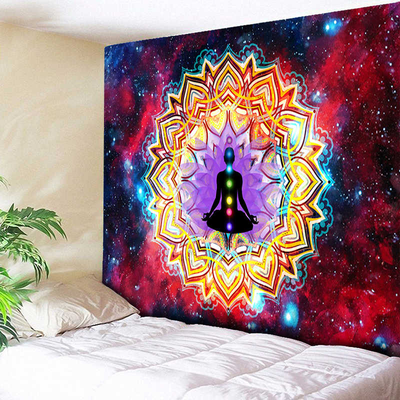 3D Chakra Tapestry Ombre Galaxy Psychedelic Tapestry Boho Decor Mandala Tapestry Wall แขวน Hippie Tapestries โยคะ Mat Cool