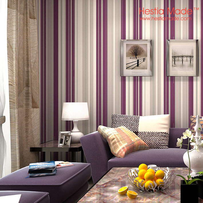 High Quality Non Woven Wallpaper Modern Brief Purple Strip Wallpaper For Living Room  Bedroom Wall Decor ...