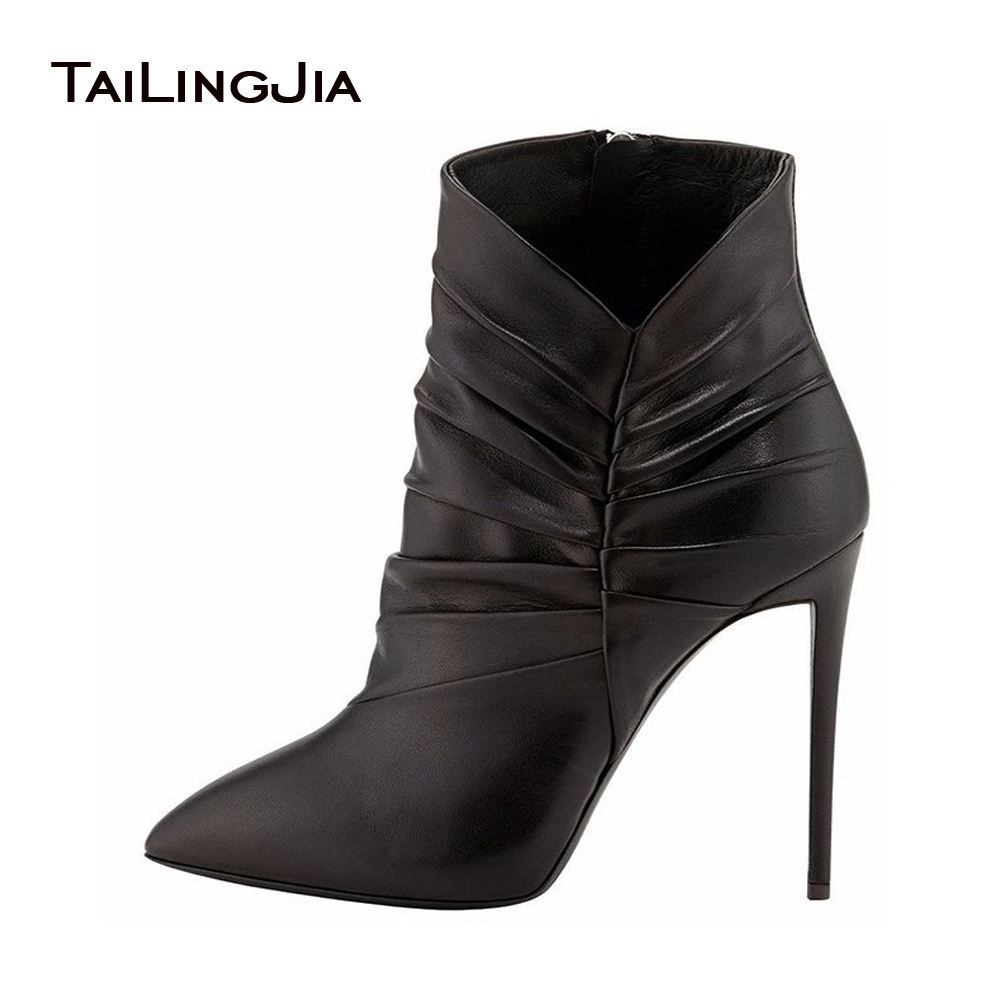 Ladies Boots 2017 Sweet Black Pointed Toe Pleated Stiletto Heel Ankle Autumn Boots For Women Zipper Shoes Handmade Large Size ladies boots 2017 casual winter black suede round toe square heel ankle boots for women custum large size zipper shoes us 4 15 5
