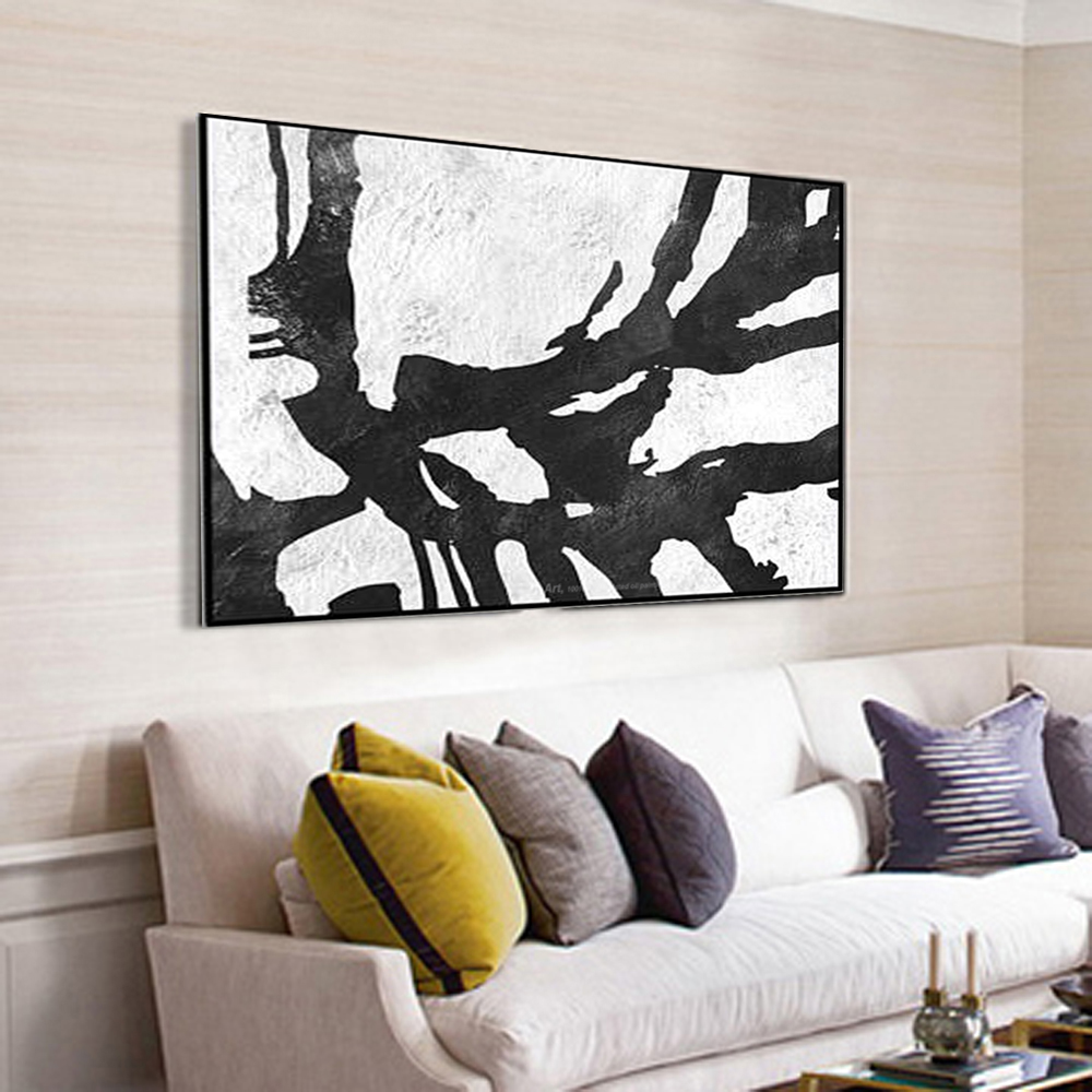 Muya canvas painting oil painting handpainted black white paintings large canvas paintings for for Oil painting for living room