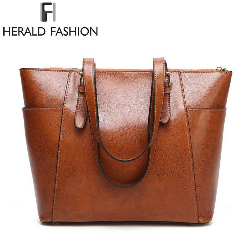 034c30f8878 Herald Mode Kwaliteit Leer Vrouwelijke Schoudertassen Grote Capaciteit  Vrouwen Handtas Casual Tassen Lady's Messenger Bags