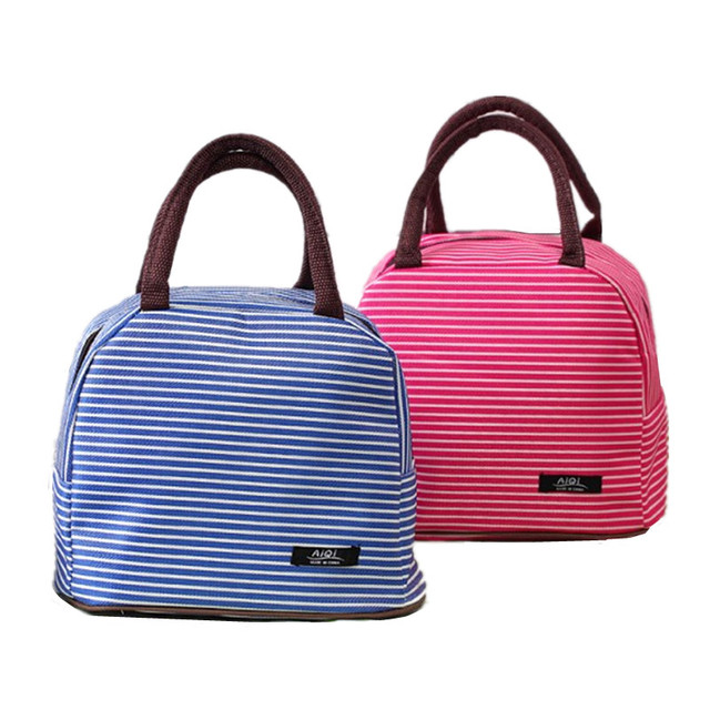 Thicker Aluminum Foil Stripe Lunch Bag Tote Women S Thermal Insulated Cooler Pouch Weekend Travel Picnic Bento