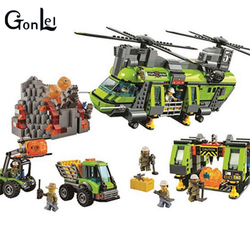 GonLeI 10642 Bela City Series Volcano Heavy-lift Helicopter Explorer scientist Building Block Bricks Toys Gift Children 60125 hot city volcano heavy lift helicopter building block transporter truck forklift expedition figures bricks 60125 toys for gifts