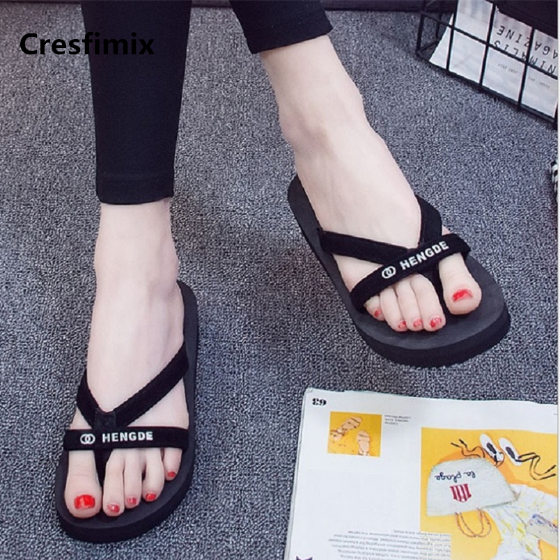 Women Fashion Light Weight Comfortable Black Flip Flops Lady Casual Street Height Increased Flip Flops Cool Beach Tongs E442Women Fashion Light Weight Comfortable Black Flip Flops Lady Casual Street Height Increased Flip Flops Cool Beach Tongs E442