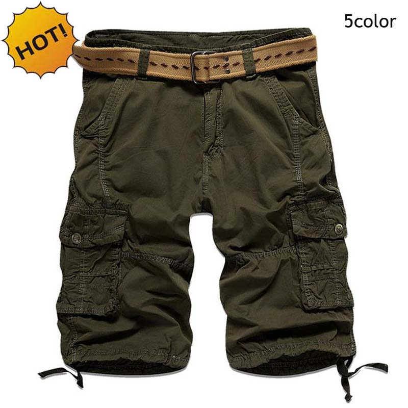 Summer Men Multi-Pocket Straight Cotton Red/light blue/Black/Army Green Cargo Baggy Tactical Shorts Army Military Solid Short