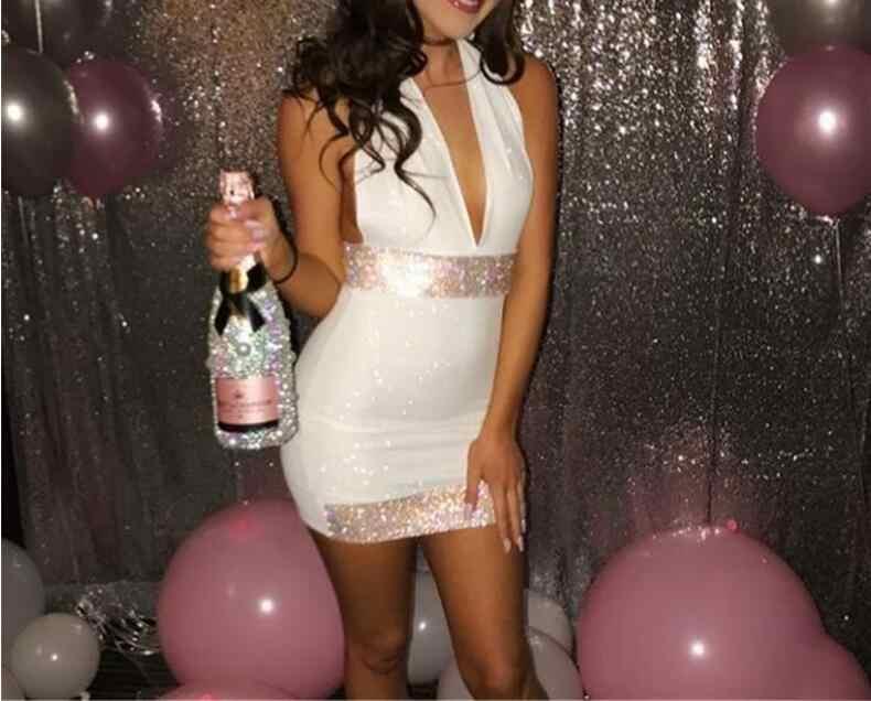 JOYINPARTY Mesh diamenty cekiny seksowna sukienka kobiety Halter głębokie V Backless Mini Bodycon sukienka urodziny klub sukienek