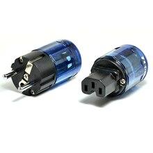 Paire haute qualité Hifi audio rhodié Schuko EU prise dalimentation P 037e IEC connecteur C 037 adaptateur pour câbles dalimentation bricolage