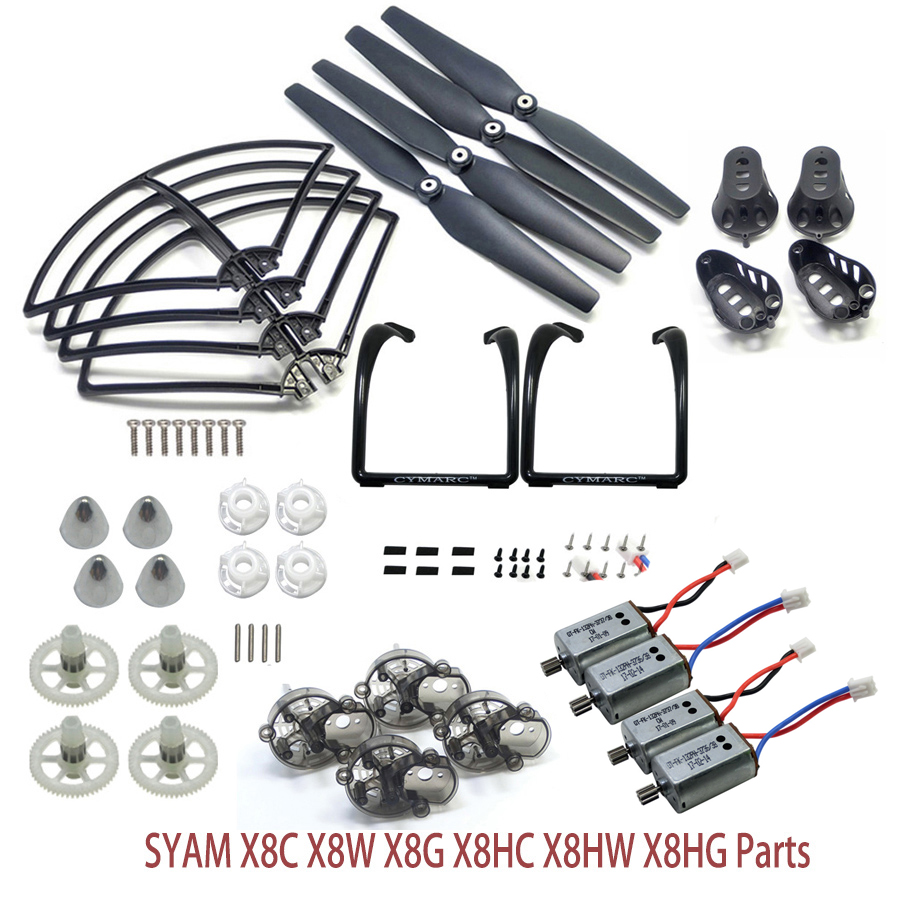 Syma X8C X8W X8G X8HW X8HG RC Drone Spare Parts Upgraded Version Landing Gear Blade Propeller Fixed Cover Protect Frame Motors