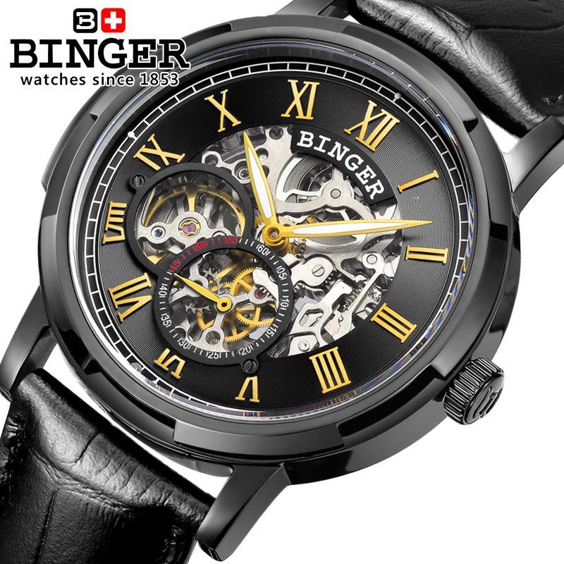 Switzerland watches men luxury brand men s watches BINGER luminous Automatic self wind full stainless steel