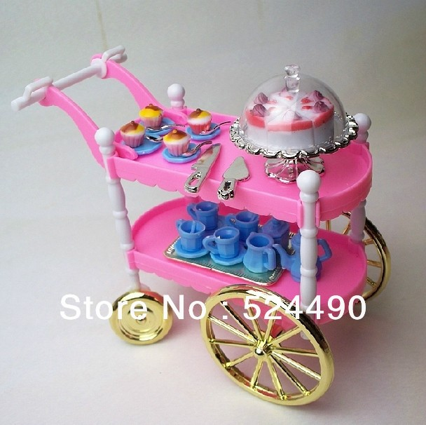 Hot Selling Doll Furniture Children Play Toys Girls Birthday Gift Dining Cake Car Accessories For Barbie