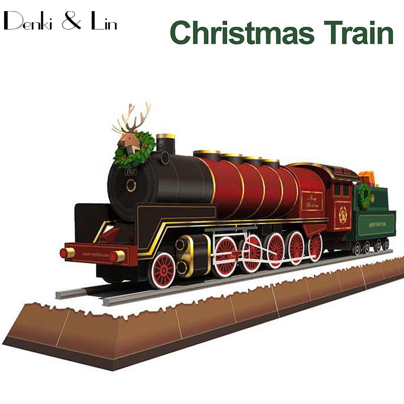 Christmas Train DIY Paper Model Education Toy Handmade Kids Or Adult Puzzle Game